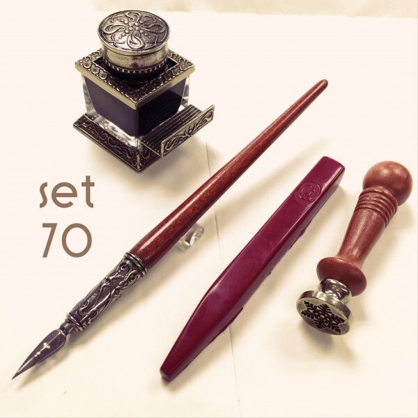 義大利 Bortoletti set70 封蠟+封印+黑色墨水+沾水筆 組合 21501167949140 / 組