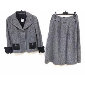 アルチザン ARTISAN スカートスーツ サイズ11 M レディース アイボリー×黒×ライトグレー ツイード/一部レザー/シルク混【中古】