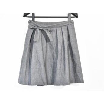 トゥービーシック TO BE CHIC スカート サイズ38 M レディース 美品 グレー×シルバー ストライプ/ラメ/リボン【中古】