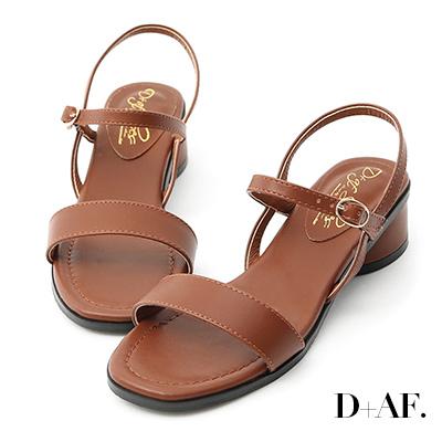 D+AF 韓國同步.一字繫踝橢圓跟涼鞋*棕