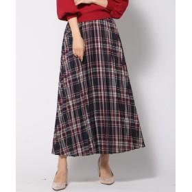 QUEENS COURT クイーンズ コート カラーチェックロングプリーツスカート