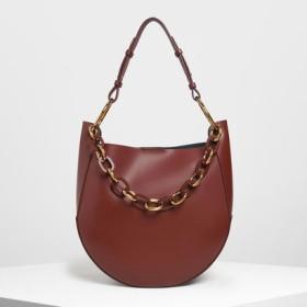 【2019 FALL 新作】チャンキーチェーンハンドル ラージホーボーバッグ / Chunky Chain Handle Large Hobo Bag(Burgundy)