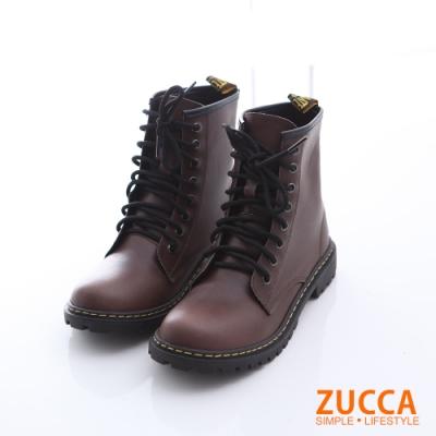 ZUCCA 率性綁繩皮革中筒軍靴-棕色-z6513ce
