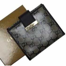 【定番人気】【中古】グッチ Wホック二つ折り財布  GG レディース ブラックxゴールド t15152