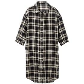60%OFF【レディース】 ロングシャツ(7分袖)(遮熱) - セシール ■カラー:チェック(ブラック系) ■サイズ:L,LL,3L,M