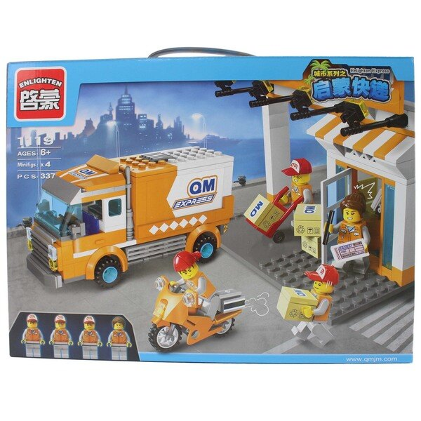 啟蒙積木 1119 快遞車積木 約337片入/一盒入{促600} 城市系列之啟蒙快遞~跟樂高一樣好玩喔!