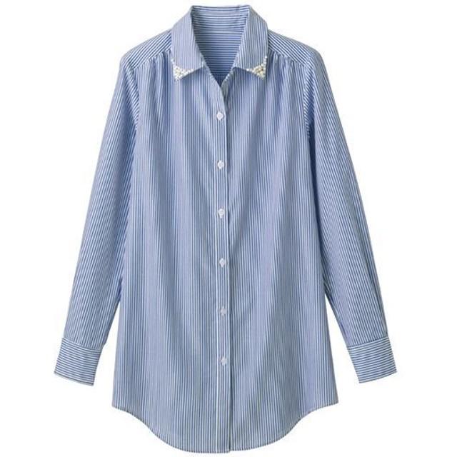 30%OFF【レディース】 衿ビジュー付ロングシャツ - セシール ■カラー:ストライプ(オフホワイト×ブルー) ■サイズ:S,M,L