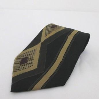 【中古】nicole ニコル シルク 絹 ネクタイ レギュラータイ 総柄 ブラック 黒系 グリーン 緑系 日本製 メンズ