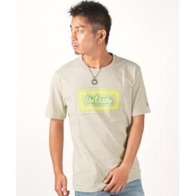 (LUXSTYLE/ラグスタイル)BOXロゴ蛍光プリント貼り付け半袖Tシャツ/Tシャツ メンズ 半袖 BOXロゴ プリント 蛍光/メンズ ベージュ