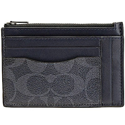 COACH PVC LOGO 防刮皮革藍色卡夾零錢包
