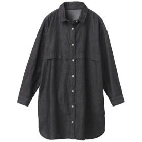 30%OFF【レディース】 ハンサムデニムロングシャツ - セシール ■カラー:ブラック ■サイズ:LL,L,M,S