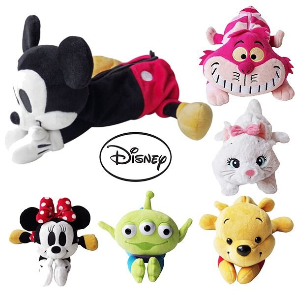 迪士尼 絨毛娃娃筆袋 化妝包 米奇 維尼 三眼 妙妙貓 瑪麗貓 日本正版 該該貝比日本精品