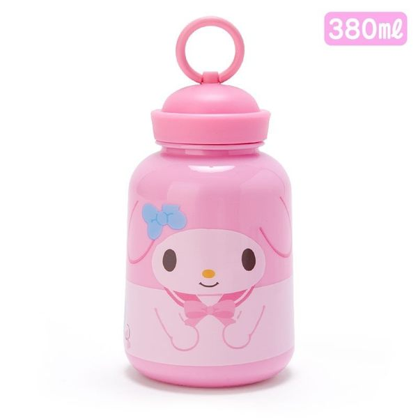 〔小禮堂〕美樂蒂 水手帽造型蓋塑膠隨身冷水瓶《粉》380ml.水壺.隨身瓶 4901610-34901