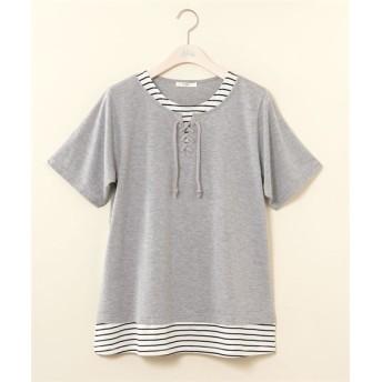 重ね着風レースアップTシャツ【bi abbey】 (大きいサイズレディース)Tシャツ・カットソー