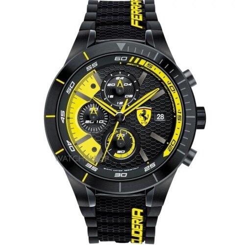 FERRARI 速度時尚計時三眼腕錶/黃/0830261