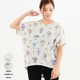 Tシャツ - relaclo レディース ファッション 20代 30代 体形カバー ゆったり 春 夏 トップス Tシャツ 半袖 総柄 ボーダー カジュアルナチュラル ドルマン