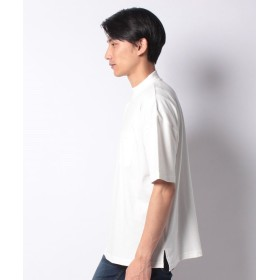 【21%OFF】 イッカ モックネックビッグ5分袖Tシャツ メンズ ホワイト L 【ikka】 【セール開催中】