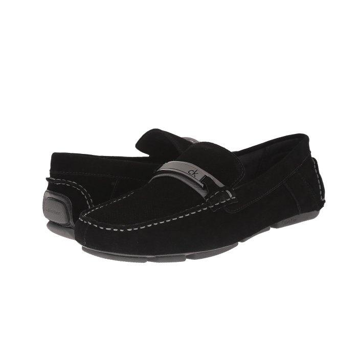 美國百分百【Calvin Klein】鞋子 CK 麂皮 休閒鞋 樂福鞋 Loafer 皮鞋 豆豆鞋 男鞋 黑色 I143
