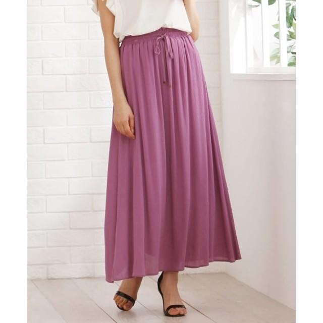 涼し気楊柳素材マキシスカート