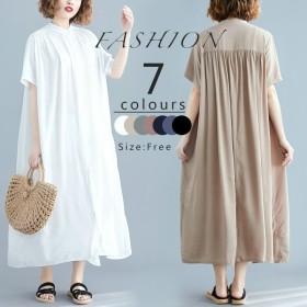 2019春夏人気新品 韓国ファッション 綿 春夏の 大きいサイズ 半袖 ロングワンピ コットンリネン 、ワンピース 、ベルトのワンピース