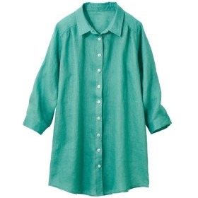 【レディース大きいサイズ】 フレンチリネン7分袖シャツ - セシール ■カラー:グリーン ■サイズ:6L,L,LL,4L,5L,3L