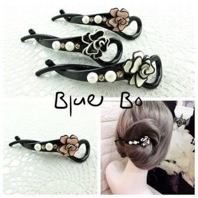 ~*BlueBo*~韓國進口 氣質立體玫瑰S盤髮夾   邊夾/香蕉夾/髮飾/ 髮夾