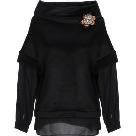 《セール開催中》CRISTINAEFFE レディース スウェットシャツ ブラック 40 アクリル 57% / コットン 42% / ナイロン 1% / レーヨン / ポリウレタン
