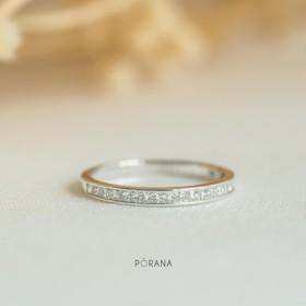 プリンセスカットダイヤモンドの結婚指輪/白金、スタッキングリング