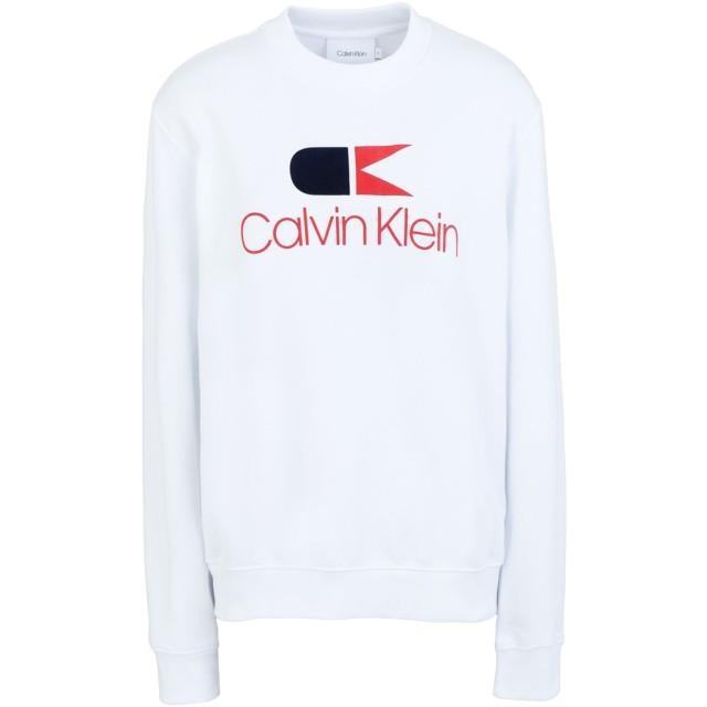 《期間限定セール開催中!》CALVIN KLEIN レディース スウェットシャツ ホワイト XS コットン 100% VINTAGE LOGO LARGE S