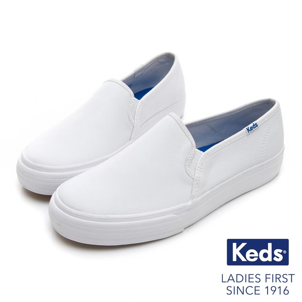 Keds 經典真皮舒適休閒小白鞋-白