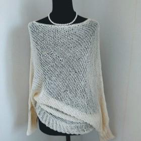 菱形編みのプルオーバー