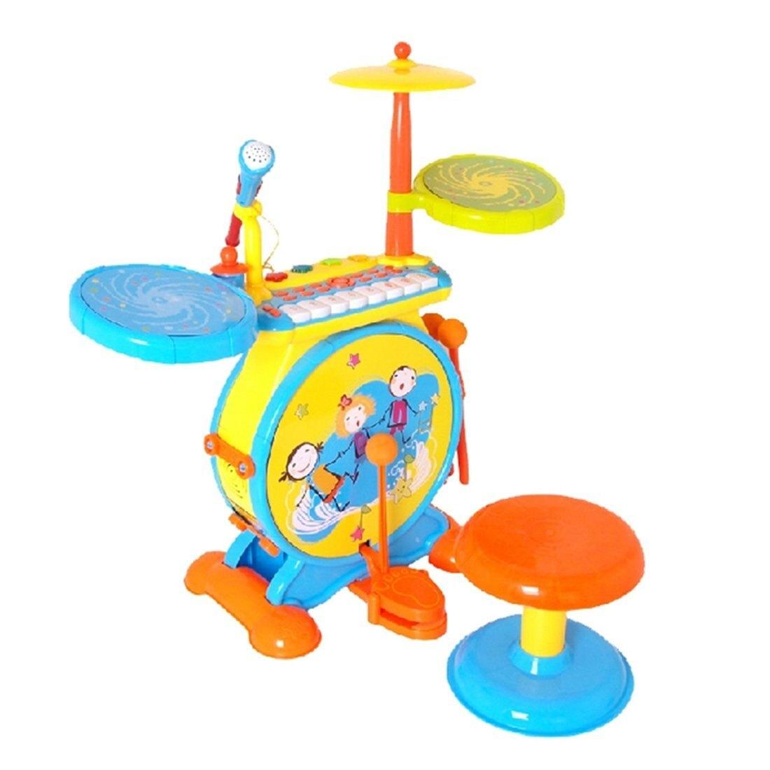 【淘氣寶寶】孩子王 KIDMAIE 二合一琴鍵爵士鼓(粉/黃)