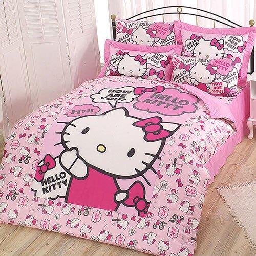 【享夢城堡】精梳棉雙人床包涼被四件式組-HELLO KITTY 嗨~你好嗎-粉
