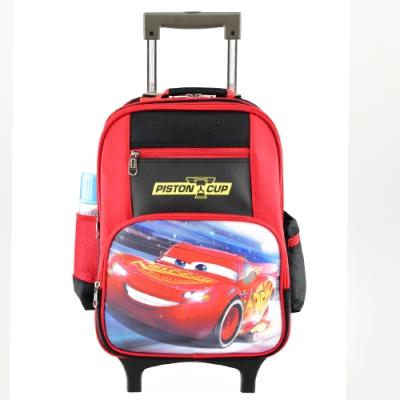 迪士尼Cars汽車總動員 鋁合金拉桿書包 黑紅配色