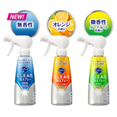 日本 KAO 花王 Kyukyutto CLEAR 泡沬噴霧洗碗精 300ml 洗碗 清潔劑 清潔 廚房 除菌 油垢 洗碗精【B063193】