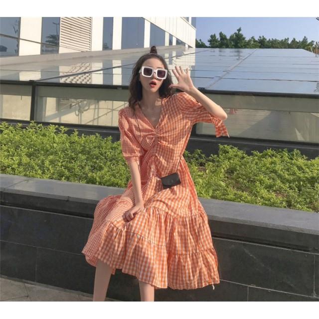 夏新作 半袖 tシャツワンピース ロングTシャツ/ワンピース 夏 格子 上品 レディース 韓国ファッション