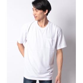 マルカワ 大きいサイズ 編み柄ポケット付き 半袖Tシャツ メンズ ホワイト XL 【MARUKAWA】