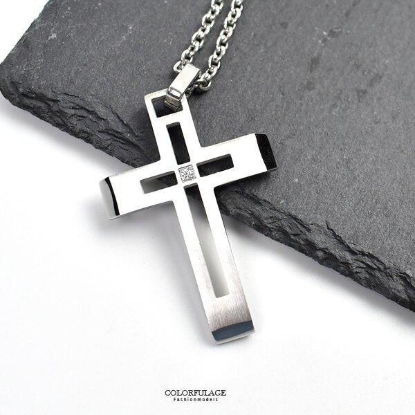 十字架項鍊 霧銀鏤空中間鑽鋼墜【NB926】