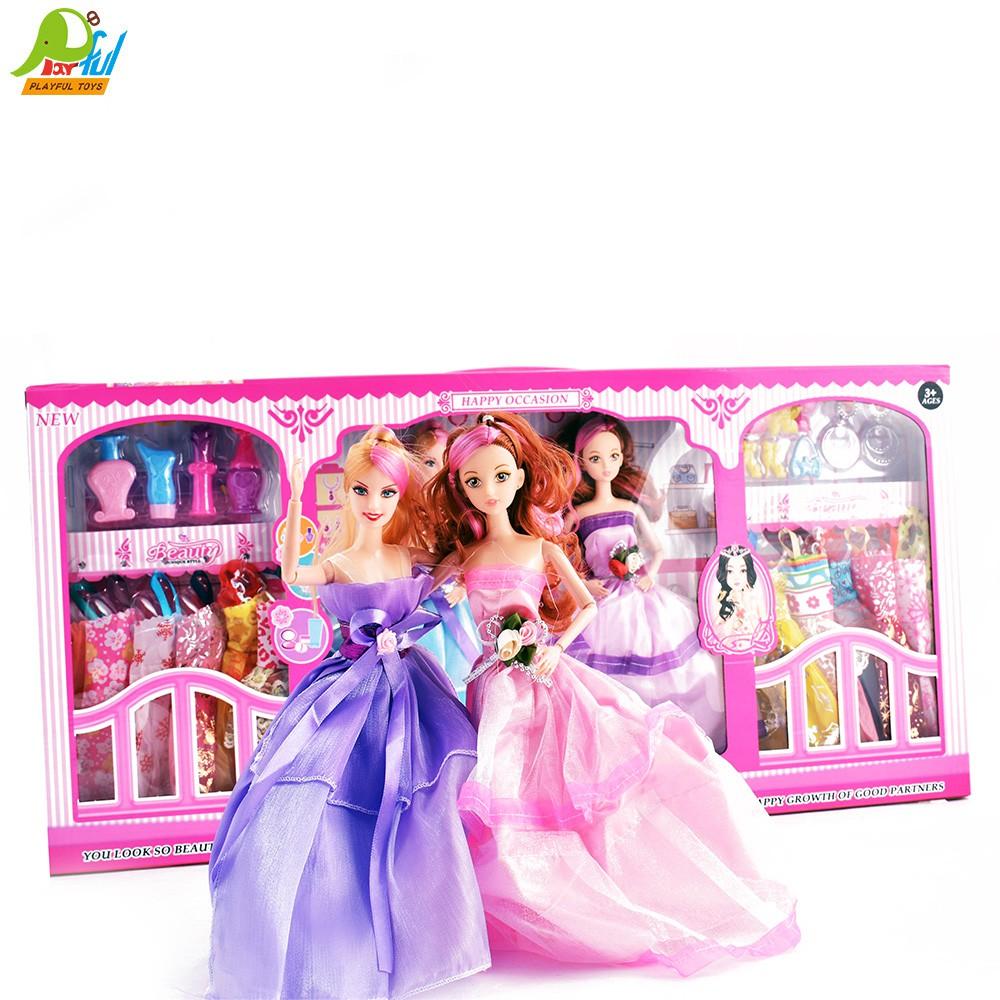 【Playful Toys 頑玩具】實心芭比娃娃(2入 裝扮 換衣 可動關節 扮家家酒 兒童玩具)