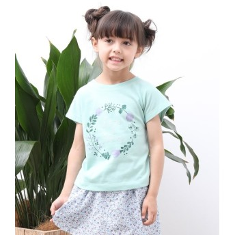 ロペピクニック キッズ/【ROPE' PICNIC KIDS】フラワープリントTシャツ/グリーン系/120