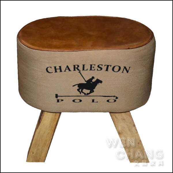 LOFT 工業風 皮革小沙發 查爾斯頓椅凳 矮凳 ST061 *文昌家具*