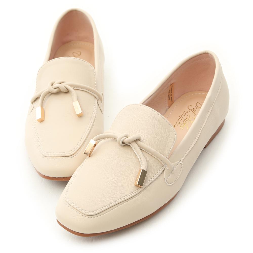 D+AF 好感輕著 小金飾綁結柔軟樂福鞋  米