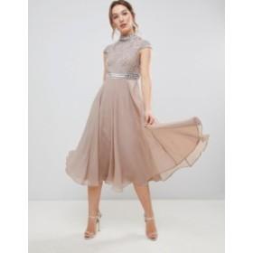 エイソス レディース ワンピース トップス ASOS DESIGN Premium Short Sleeve Midi Dress With Heavily Embellished Bodice Mink