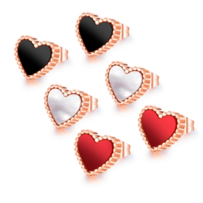 I.Dear飾品-西德鋼-小愛心-甜美愛心造型玫瑰金鈦鋼耳針耳環DA32