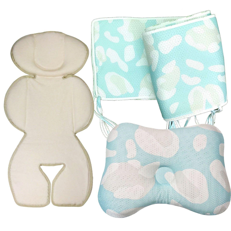 COMFi - 透氣嬰兒定型枕+透氣床圍+冬暖夏涼四季透氣車墊-( 3~24個月)-薄荷綠+薄荷綠+白/有機棉款