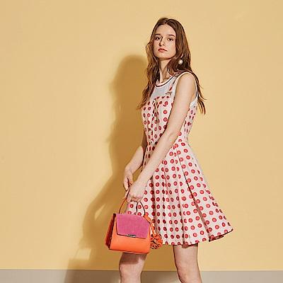 Haute Couture 高定系 時尚圓點印花假兩件拼接吊帶造型洋裝-櫻花粉