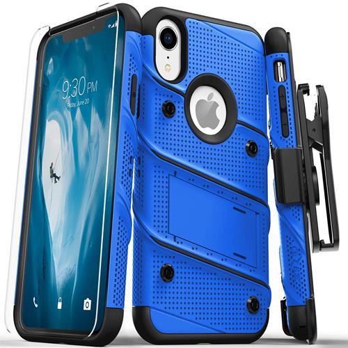 【美國代購】Zizo Bolt系列iPhone XR軍用級摔落測試 保護套皮套 藍黑色