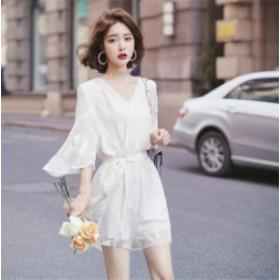 レディース オールインワン ショットガウチョパンツ ボトムス スカーチョ パンツ レディース Vネック サロペット 韓国ファッション かっ