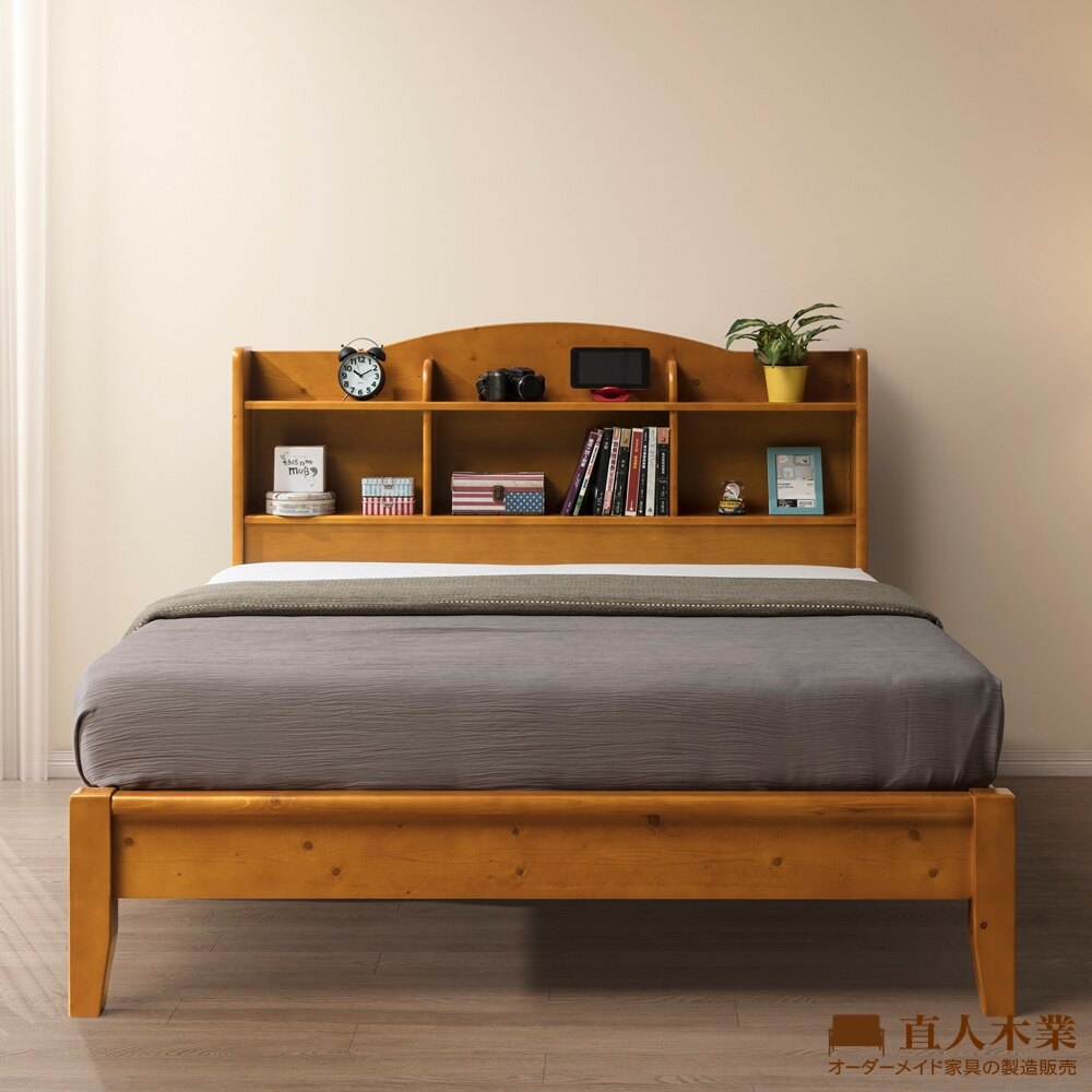 【日本直人木業】SOLID全實木收納5尺雙人床組