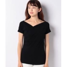 (SISLEY/シスレー)カシュクール風ストレッチ半袖Tシャツ・カットソー/レディース ブラック